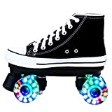Quad- Roller Skate for Adults, Roller Skates Light Up Wheels, Canvas Double Row Roller Skates for Teens with High Top Shoe Style for Teens and Youth