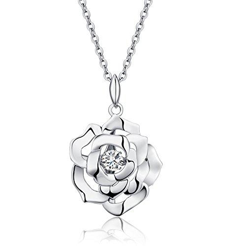 jiamiaoi Rose Kette Damen Halskette Silber 925 Silber Rosen Anhänger mit Tanzender Diamant 5A+ Zirkonia Halskette Silber Silberkette Halskette Vergoldet Schmuck Geschenke für Frauen