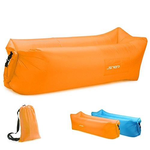 JSVER wasserdichtes aufblasbares Sofa, Luft Sofa,Luft Couch, mit integriertem Kissen, tragbares aufblasbares Sofa, aufblasbares Outdoor-Sofa Fuer Camping, Park, Strand, Hinterhof-Orange