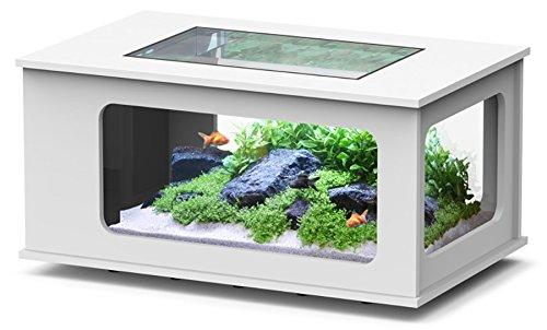 Aquarium Tisch LED 100 x 63 cm, weiß: : Haustier
