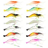 14pcs Shrimp Bait Artificial Silicone Soft Baits Luminous Fishing Lure with Sharp Hooks Fishing Tackles Freshwater/Saltwater