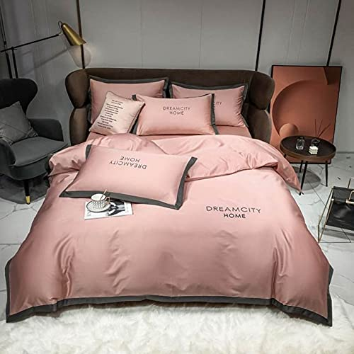 Nórdico Gris Oscuro algodón sólido Bordado Ropa de Hotel sábana Ajustable Queen RU Europa Juego de Cama Juego de Funda nórdica