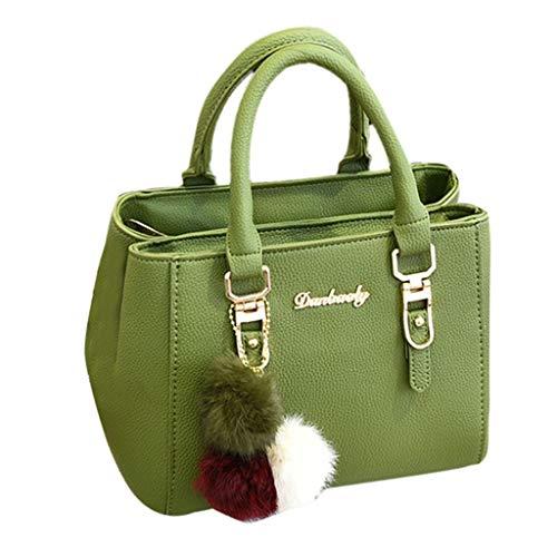 Lazzboy Schultertasche Frauen Handtasche Hairball Ornaments Tote Solide Pailletten Geldbörse Messenger (Armeegrün)