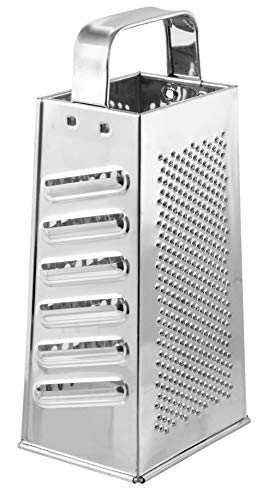 Fackelmann 45410 Râpe quatre faces, râpe de cuisine, râpe, râpe multiusage, Fer blanc, Argenté, 23 x 10 x 8 cm