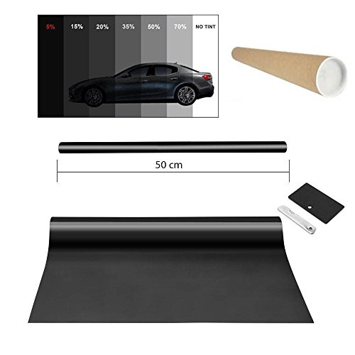 Promo Link Kleurfolie zwart 5% 50x300cm raamfolie auto raam zonwerende folie