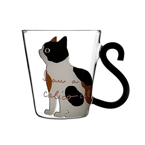 Sjzwt Tazza di Succo Creativa Sveglia del Gatto Latte Tazza di caffè di Vetro di Acqua della Tazza della Tazza di tè della Tazza del Fumetto del Gattino Home Office for Frutta
