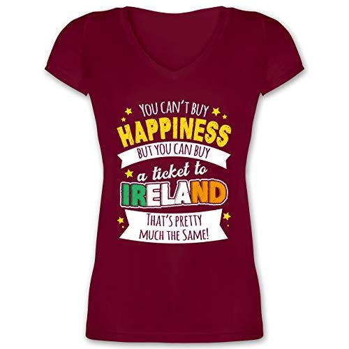 St. Patricks Day - A Ticket to Ireland - weiß - XXL - Bordeauxrot - 32 - XO1525 - Damen T-Shirt mit V-Ausschnitt