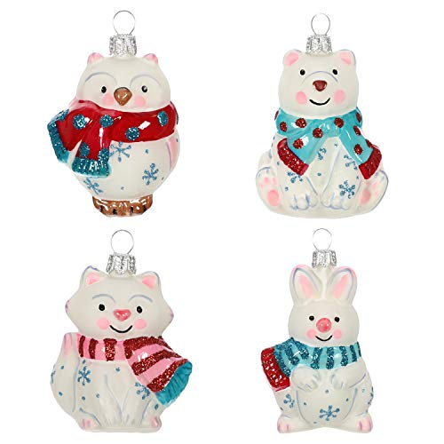 Hallmark Keepsake Mini Christmas 2019 Year Dated Arctic Friends Animals Miniature Blown Glass Ornament, Set of 4, 4 Count