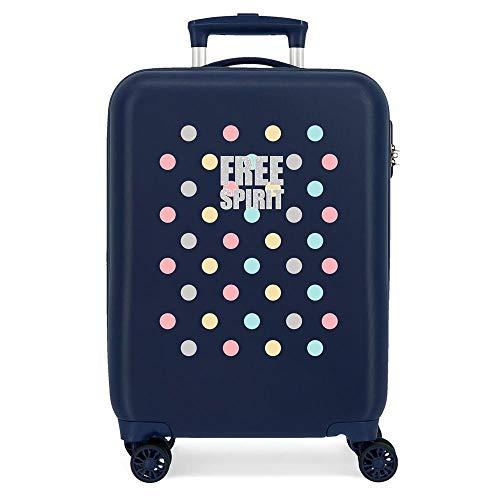 Enso Free Dots Maleta de Cabina Azul 38x55x20 cms Rígida ABS Cierre combinación 34L 2,6Kgs 4 Ruedas Dobles Equipaje de Mano