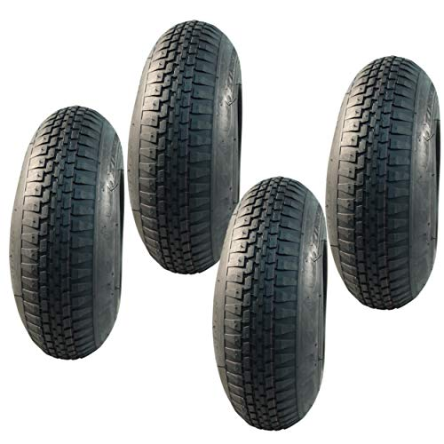 4x Reifen und Schläuche für Tret GoKart 4.00-8 und 4.80/4.00-8 (400x100), mit Blockprofil