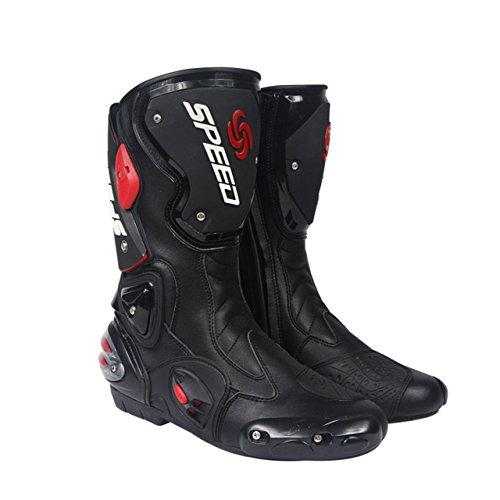 SPEED BIKERS レーシングブーツ バイク用ブーツ メンズオートバイ靴 プロテクトスポーツブーツ バイク用靴 ライディングシューズ (26.5-27cm)43サイズ ブラック