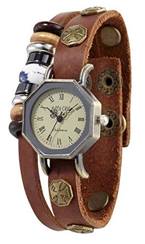 Hippie Chic California Armbanduhr Armband mit Echtlederband