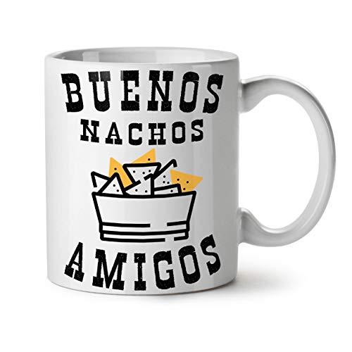Buenos Nachos Amigos Keramiktasse, Mexiko - 11 oz Tasse - Großer, Easy-Grip-Griff, Zwei-seitiger Druck, Ideal für Kaffee- und Teetrinker von Wellcoda