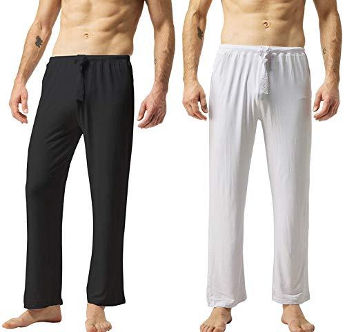 ZSHOW Pantaloni da Yoga Casual in Cotone Pantaloni Lunghi Piagiama a Casa Pantaloni da Allenamento Sportivi Pantaloni Oversize Tempo Libero Uomo Nero & Bianco M