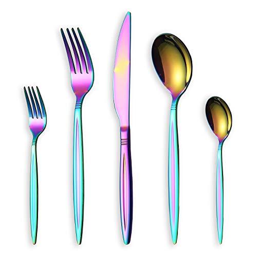 HOMQUEN 30-Teiliges Buntes Besteckset, Edelstahl Besteck Set, Buntes Titan-Besteckset, Service Set für 6 (Glänzender Regenbogen)