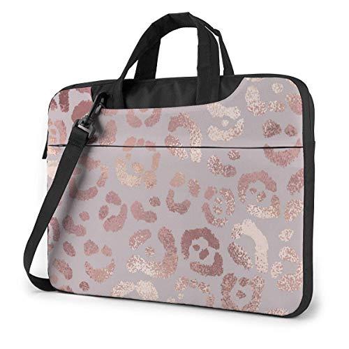 Leopard Skin Rose Gold Laptop Case Laptop Shoulder Bag 15.6 Inch,Laptop Sleeve Carrying Case With Strap