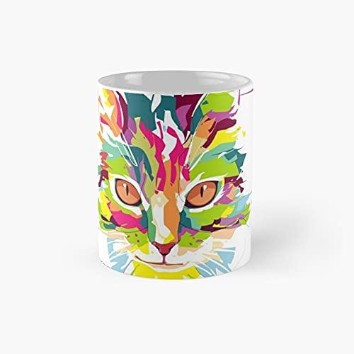 Taza de café de cerámica con diseño de gato clásico y bonito colorido y fresco, 11 oz regalos únicos