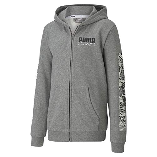 PUMA Jungen Sweatjacke Alpha Hooded Jacket TR B 581274 Medium Gray Heather 176