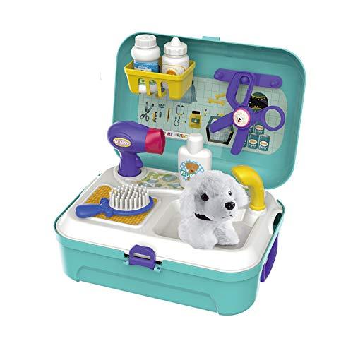 Tierarzt-Kit, Haustierpflege-Spielzeug, Plüsch-Welpenpflege, Spiel-Set, Tierspiele für Kinder, mit Rucksack