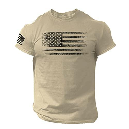 chora Camiseta Verano Americano Bandera Camiseta Hombre patrón Top Transpirable para Hombres Positive