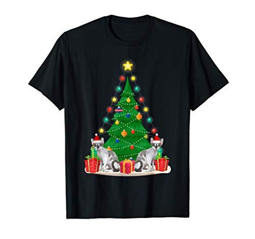 Santa Devon Rex Cat Christmas Tree Funny Xmas Gift Cat T-Shirt