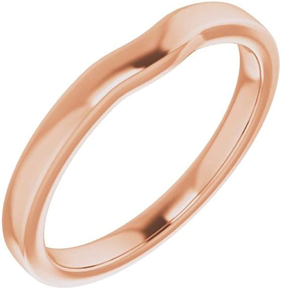 Solid 10K Rose Gold Curved Notched Wedding Band for 9.4mm Round Ring Guard Enhancer - Size 7