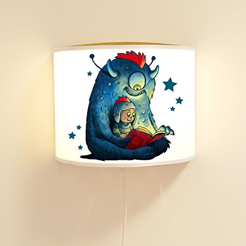 ilka parey wandtattoo-welt wandtattoo-welt® Lampe Murale pour Enfant Motif Monstre avec Enfant et Lampe à Motif Jungle ls97