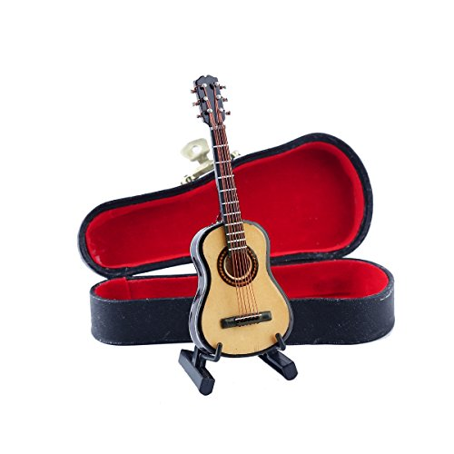 Dselvgvu Wooden Miniature Guitar with Stand and Case Mini Musical Instrument...