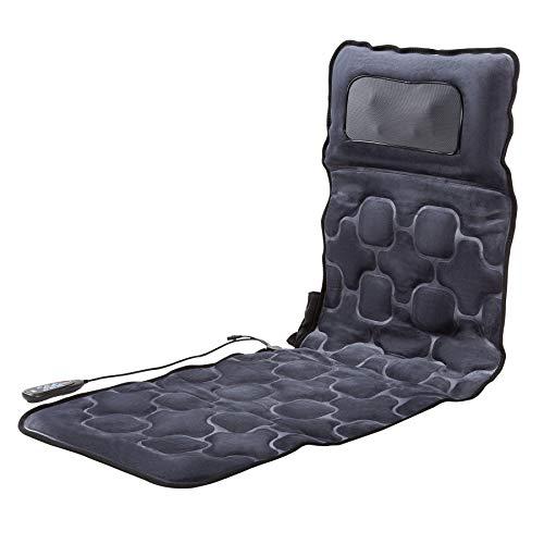CO-Z 10 Motoren Massagematte mit Wärmefunktion Ganzkörpermassagegerät Massageauflage 9 Modus Massage Heizkissen Vibrationsmatte mit Timer für Rücke-, Beinmassagegerät (Dunkelgrau-Mit Nackenmassage)