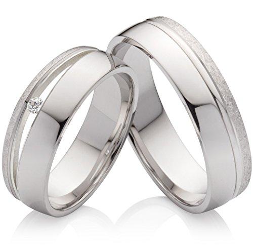 frencheis Eheringe Verlobungsringe Trauringe aus 925 Silber mit einem Diamant und kostenloser Gravur SPB59