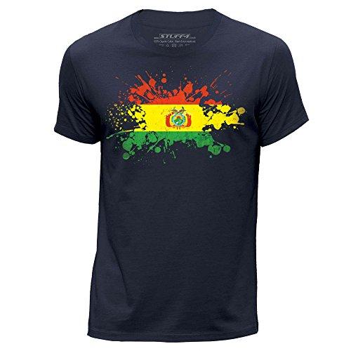 STUFF4 Uomo/Medio (M)/Blu Navy/Girocollo T-Shirt/Bolivia Bandiera Splat