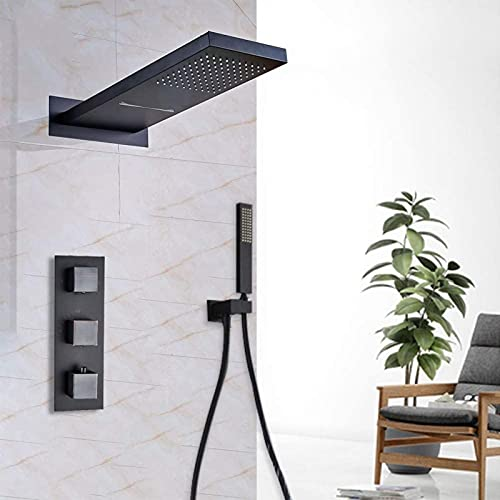 XQMY Sistema de Ducha Bronce Negro Cascada Grifo de Ducha en la Pared Cascada Lluvia Cabezal de Ducha de latón Baño Grifo Mezclador de Ducha Válvula mezcladora termostática