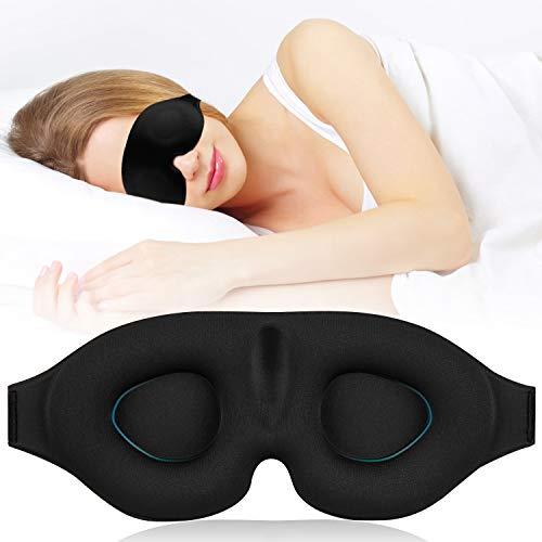 AODOOR Schlafmaske, Augenmaske Damen und Herren, Lichtblockende Nachtmaske mit Verstellbarem Gummiband, Super Weich und Bequem 3D konturierte schlafbrille für Reisen, Nickerchen und Schichtarbeit