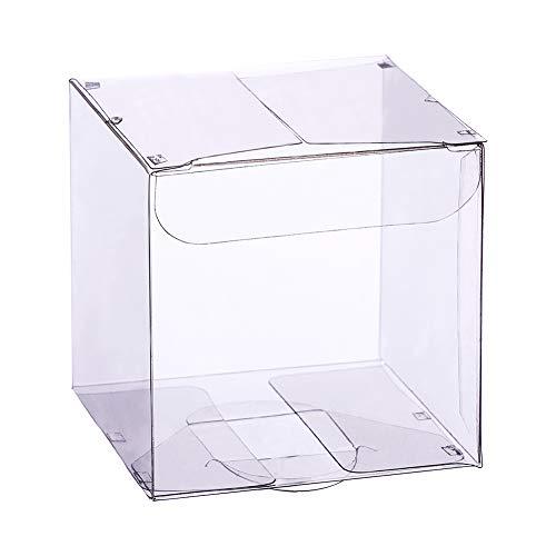 BENECREAT 60 Pack Scatole Contenitore di plastica Pieghevole Confezione Regalo Trasparente Cioccolatini per Feste di Compleanno 5x5x5cm