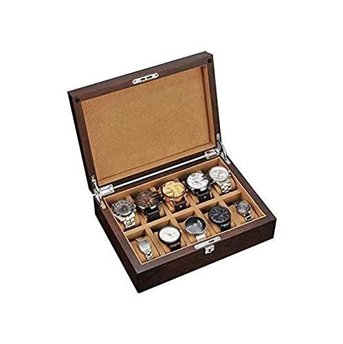 ELXSZJ XTZJ Caja de Reloj para Hombres - 10 Ranura Luxury Watch Funda de Pantalla Organizador, Bloqueo para Hombre Relojes de Joyería, Titular de Cajas de Almacenamiento de Hombres