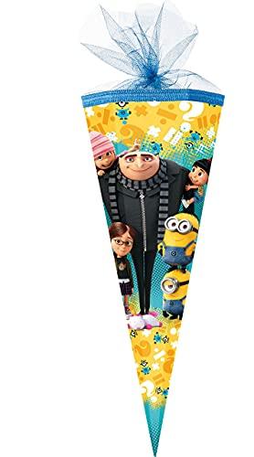 alles-meine.de GmbH Schultüte -  Minions - ich einfach unverbesserlich  - 50 cm - rund - mit Tüllabschluß - Zuckertüte - Nestler - mit / ohne Kunststoff Spitze - für Jungen & M..