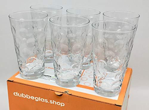Premium Dubbeglas 6 Stück 0,5 Liter (klar) - Original Pfälzer Dubbegläser + Aufkleber I Love Dubbeglas