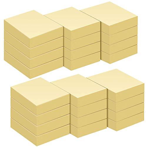 ZCZN Notas Adhesivas,Pack de 24 Bloc de notas,38 x 51 mm,100 Hojas por Bloc,Total de 2400PCS,Amarillo
