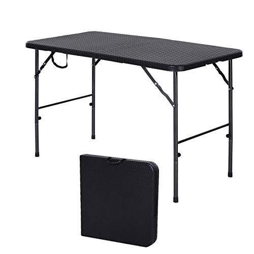Outsunny Klapptisch, Faltbarer Campingtisch, Falttisch, Tragbarer Picknicktisch, Metall, Schwarz, 120 x 60 x 74 cm