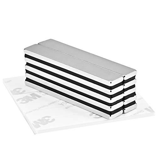 Jewan Stark Neodym Magnete, 10 Stück N52 Seltenerdmagnete,Seltener Magnet, Rare Earth Magnets sehr starker Haftung,60 x 10 x 3mm