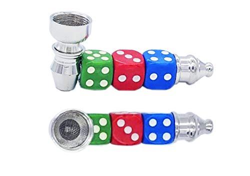 JOVAL Pipa de Tabaco Metálica de aleación fuerte con diseño de dados para fumar y con boquilla de metal de fácil lavado, Incluye 5 rejillas de repuesto.