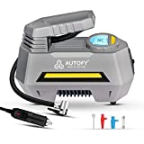 Autofy AIR+ with AUTO Cut 1 Year Warranty Advanced Digital & Analog Display Car Tyre Inflator 150PSi Portable Air Compressor Pump with Emergency LED Light (4 Meter Wire – 12V DC - Grey)