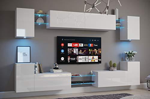 Furnitech Nairobi C1 Möbel Wohnzimmer Schrankwand Wohnwand Wandschrank Mediawand mit Led...
