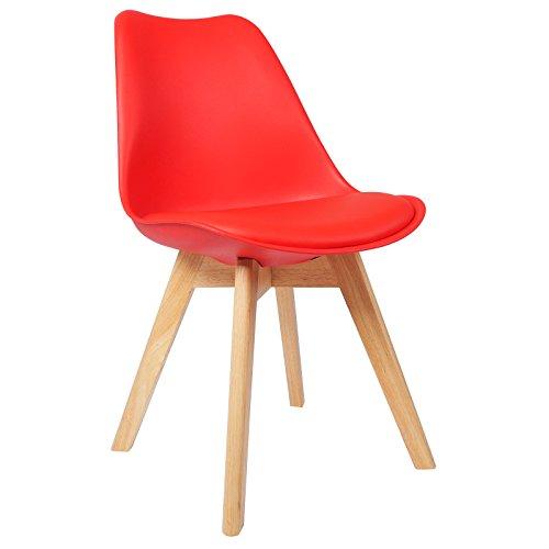 WOLTU BH29rt-1 1 x Esszimmerstuhl 1 Stück Esszimmerstuhl Design Stuhl Küchenstuhl Holz Rot