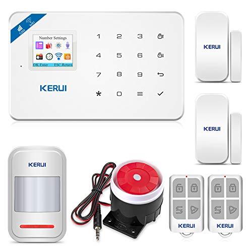 Kerui W18 Alarmanlage, kabellos, WLAN und GSM, mit Sirenensiensicherung, kabellos, Android, iOS, App-Steuerung, mit Alarm für Tür und Fenster