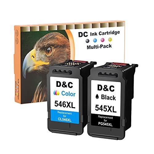 D&C 545XL 546XL Remanufacturado Cartuchos de Tinta Canon PG-545 CL-546 XL Compatible con Canon Pixma MX495 MX490 iP2800 iP2850 MG2400 MG2500 MG2550S MG2555S MG2950S MG3050 (1 Negro, 1 Color)