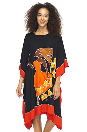 Back From Bali Womens Loose Beach Cover Up Short Poncho Butterfly Dancer Black