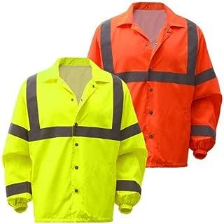 Standard Class 3 Snap Button Hi Vis Windbreaker Jacket (L, Orange)