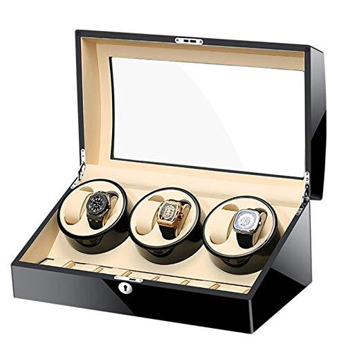 WXDP Enrollador de Reloj automático,para 6 Relojes automáticos, 7 almacenamientos adicionales para Relojes, Carcasa de Madera, Piano, Motor silencioso, 5 a