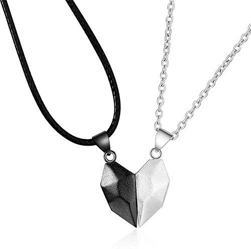 Two Souls - Collar con forma de corazón para parejas, cadena ligera y sencilla, colgante de cuerda ajustable, color blanco y negro